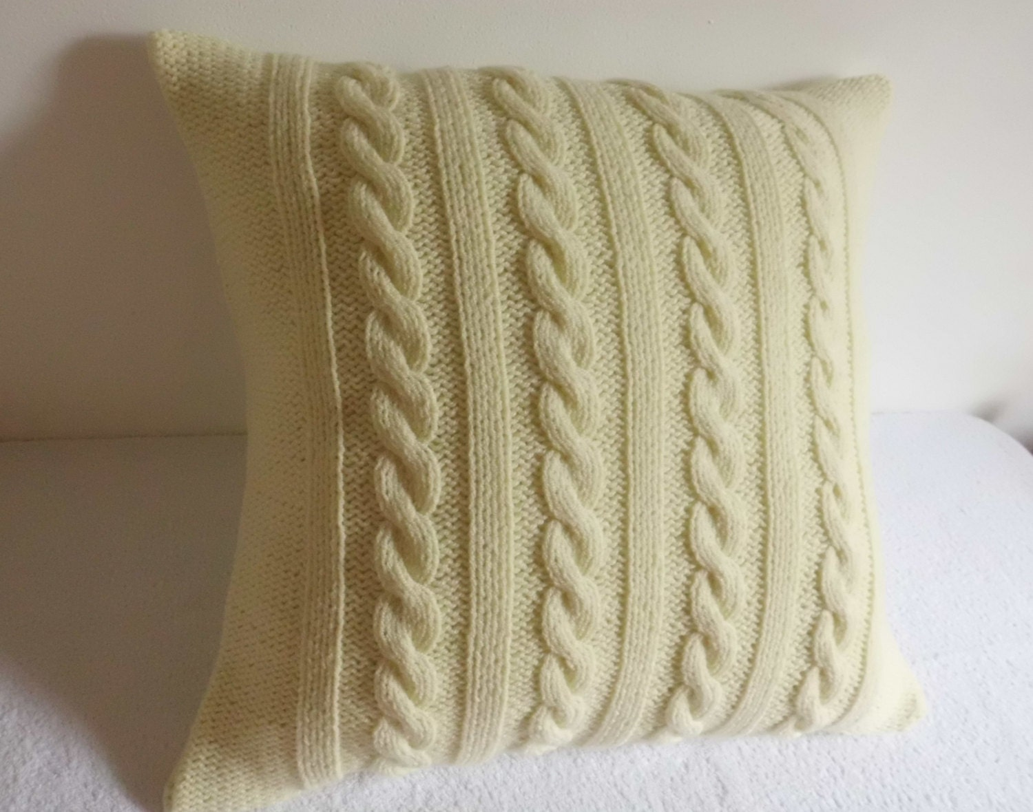 Knitting Pillows : Cream cable knit pillow case throw butter hand