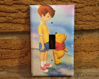 Winnie the Pooh and Christopher Robin Light Switch Cover, Winnie the Pooh Nursery, Winnie the Pooh Decor, Pooh Decoration, Baby Shower, WTP1