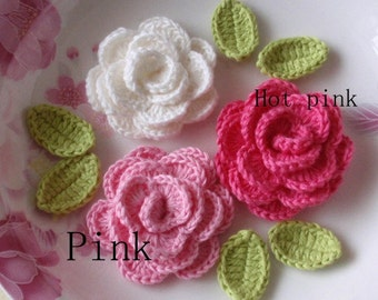 6 Crochet Roses With Leaves YH - 38-11