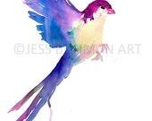 HUGE SALE Watercolor Bird Print, Abstract Bird Art, Colorful Bird Print, Minimalist Painting, Minimalist Bird, Watercolor Art, Bird Art, Abs