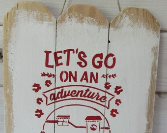Reclaimed Pallet Barn Wood Sign Campsite Vintage Camper Wall Decor Distressed Shabby Chic Rustic Hand Painted Red White