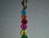 Artisan Handmade Multi Color Rainbow Chakra Glass Crystal  Gold Key Chain Accessory Gift Fashion SALE
