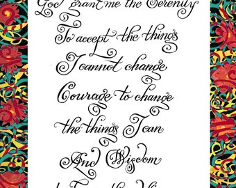Inspirational Quote - Serenity Prayer - Calligraphy