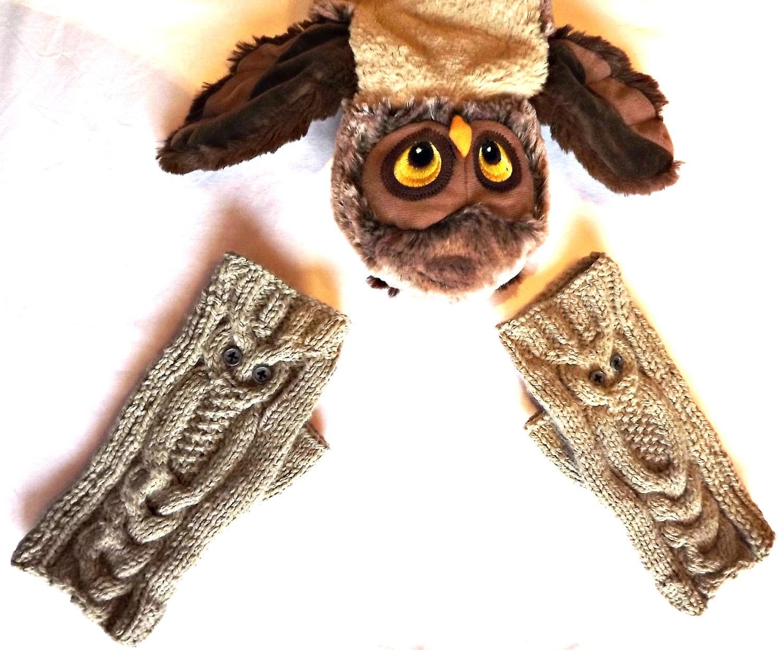 Knitting Pattern Owl Fingerless Gloves Pattern Knitted on
