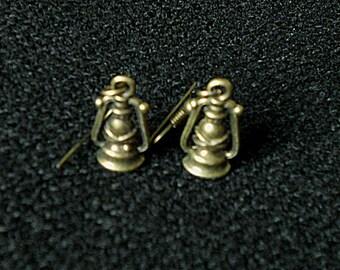 Steampunk Hurricane Lamp Earrings Steampunk Earrings Bronze
