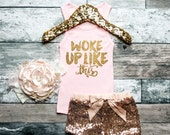 I Woke Up Like This Shirt Glitter Shirt I Woke Up Like This Tank Gold Baby Girl Shirt Hipster Baby Clothes Baby Gift White And Gold #92