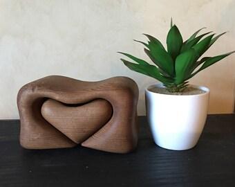 mid century wood heart carved  jewelry box organizer drawer southwest home decor minimalist brown