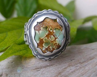Ornate Royston Turquoise Ring - Silversmithed Green Royston Turquoise Wide Band Ring size 7.25 to 7.5 US