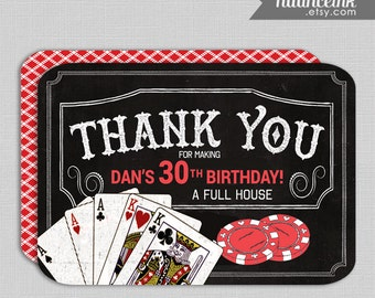 Casino Poker Craps, birthday, Thank You card, printed or digital copy, 24 hr turnaround