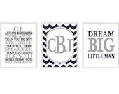 Baby Boy Nursery Art, Always Remember You Are Braver Quote, Dream Big Little Man Print, Chevron Decor, Monogram Art, Navy Blue, Gray, Gift
