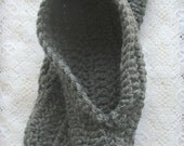 Slippers  Crocheted Houseshoes  Warm Slippers  Large Charcoal Grey Slippers