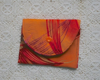 Orange Credit Card Holder,  Coin Purse,  Gift Card Holder,  Small Jewelry Pouch