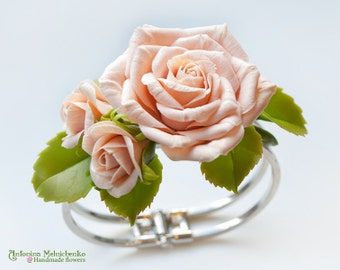 Bracelet Powder Roses - Polymer Clay Flowers - Wedding Accessories