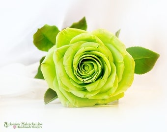 Green Rose - Polymer Clay Flowers