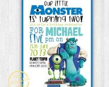 Monsters Inc. invitation ONLY - Modern, Contemporary Kids birthday Invitation - Printable, Digital