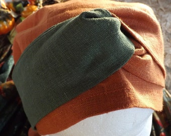 388 Lovely Leah Harvest Orange and Green 100% Linen Headcover Scarf with Matching Two Toned Wrap Ties