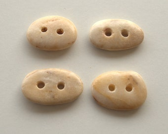 4 Medium Beach Stone Buttons,Natural Organic Supplies,Sewing Finding Buttons,Beach Pebble Buttons,Drilled Stones,Knitting Supplies,RTS