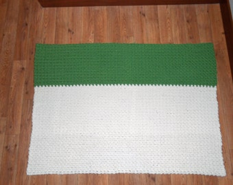 Green, White, Reversible, Wool Area Rug - Handmade