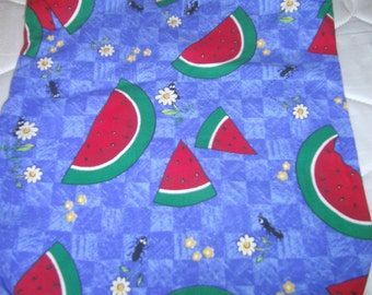 Watermelon ants flowers zippered handle tote purse