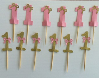 Pink and gold Cupcake toppers for 1st birthday