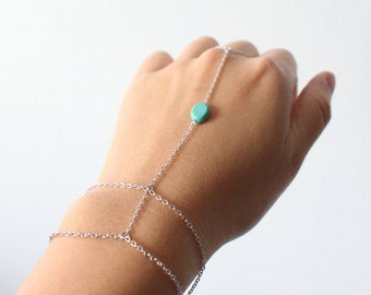 Silver hand chain bracelet // Silver slave bracelet // Silver Chain bracelet // Ring Bracelet // Turquoise Slave bracelet