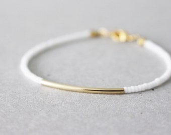 Gold bar bracelet - white beaded bracelet