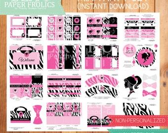 Hot Pink Barbie Party Set, Digital, DIY, Printable
