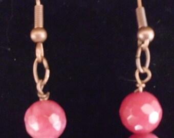 Handmade Red Beaded Earrings 2