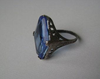 antique edwardian filigree blue glass ring, size 6.5