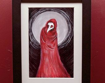Red Plague Archival Print in 4 by 6 Inch Black Frame