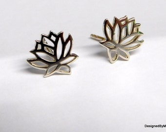 Sterling silver earrings, lotus flower earrings, stud earrings, post earrings