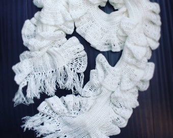 Handcrafted White Ruffle Scarf