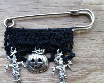 Halloween, halloween pin, pagan pin, shawl pin, sweater pin, hat pin, purse pin