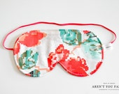 Eye Mask, Sleep Mask, Travel Mask, Handmade Cotton Modern Floral Pixel Pattern Mask by Aren't You Fancy