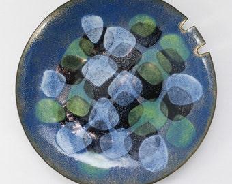 Mid Century Enamel Ashtray Cubist Abstract Vintage Copper