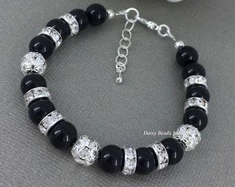 Black Pearl Bracelet, Black and Rhinestones Bracelet, Bridesmaid Gift, Black Pearl Jewelry, Bridesmaids Bracelet, Black Bracelet