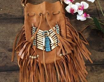 Tan leather fringe bag  18 cm by 26 cm