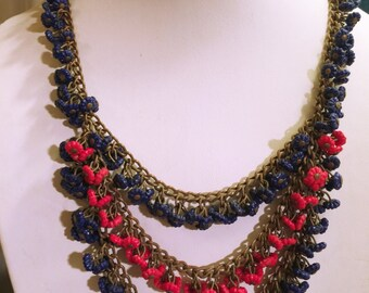 Funky Cool CZECHOSLOVAKIA Bib Necklace