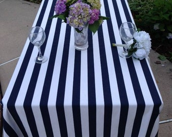 Tablecloth, Navy And White Stripe Tablecloth