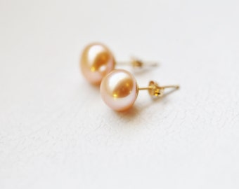 Solid 14K Gold Freshwater Pearl Earrings Studs, Bridal gift, Pink freshwater pearl