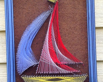 vintage 1970's retro String Art picture Sailing Ship or Schooner with blue wooden frame