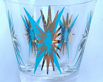 Fun 1950's Atomic Era STARBURST Low Ball or Rocks glasses with Gold and turqoise exploding stars !