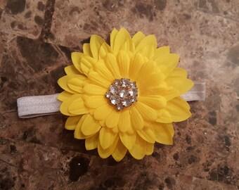 Yellow Rhinestone Flower Headband