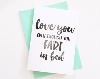 Love You Card, Funny Card, boyfriend card, Toilet Humour
