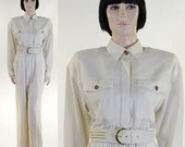 Vintage 1980s Women's White Jumpsuit by Dorothy Samuels / California Designs / Size 6 / Matching Belt / Padded Shoulders
