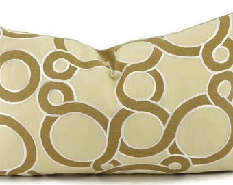 SALE! Throw Pillow Cover, Cream & Tan Appliqued Circle Linen Lumbar Pillow Cover with Soutache Trim, 12x20
