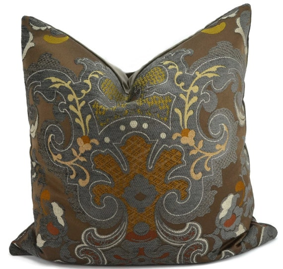 Gray Brown Gold Amp Off White Chenille Medallion Pillow Cover