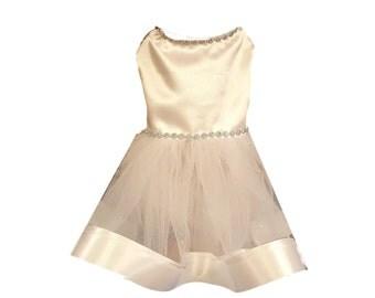 Dog Wedding Dress, Dog Dress, Dog Clothing, Pet Wedding Dress, Pet Clothing-White Satin with Tulle Skirt