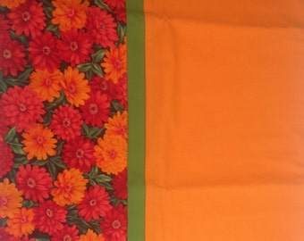 Orange with red and orange floral