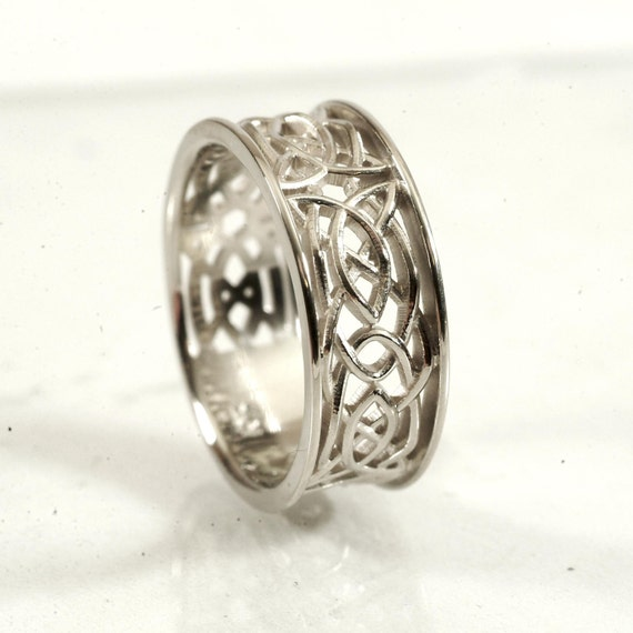 Celtic Wedding Ring With Open Cut-Through Knotwork Design in Sterling Silver, Made in Your Size CR-112
